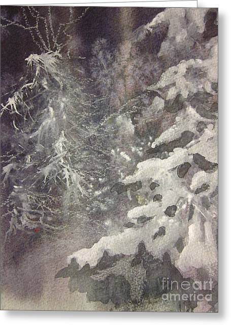 Greeting Card featuring the painting Silent Night by Elizabeth Carr