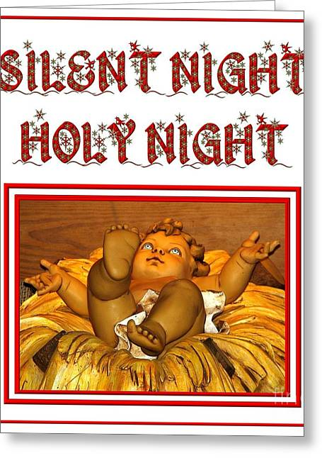 Silent Night Holy Night Greeting Card by Rose Santuci-Sofranko