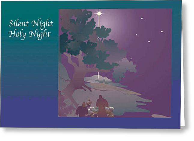 Greeting Card featuring the digital art Silent Night by Nancy Watson