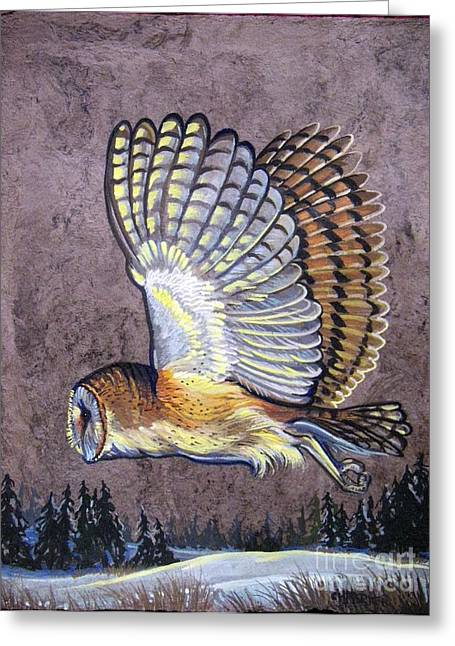 Silent Night Owl Greeting Card by Anne Shoemaker-Magdaleno