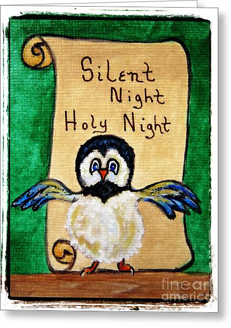 Silent Night - Whimsical Chickadee Choir Director Greeting Card