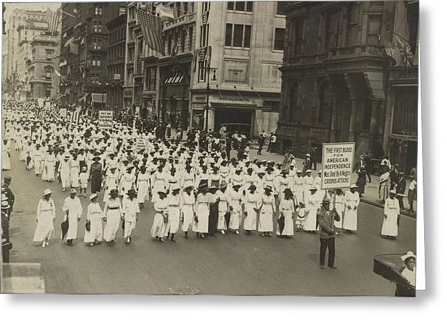 Silent Protest Parade In New York City Greeting Card by Stocktrek Images