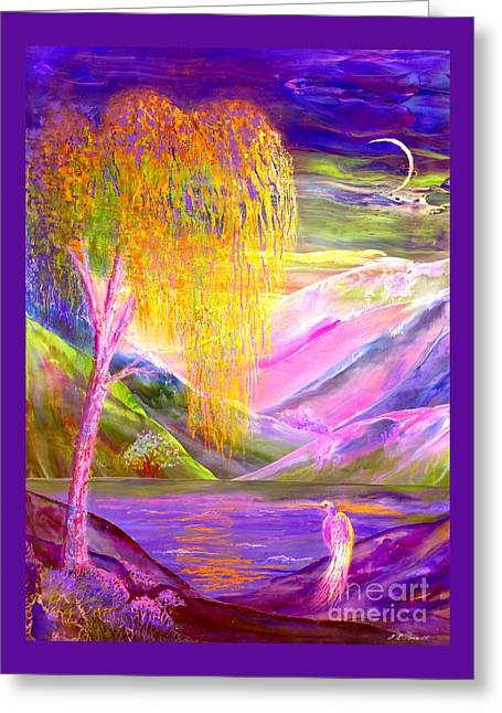 Silent Waters, Silver Birch And Egret Greeting Card