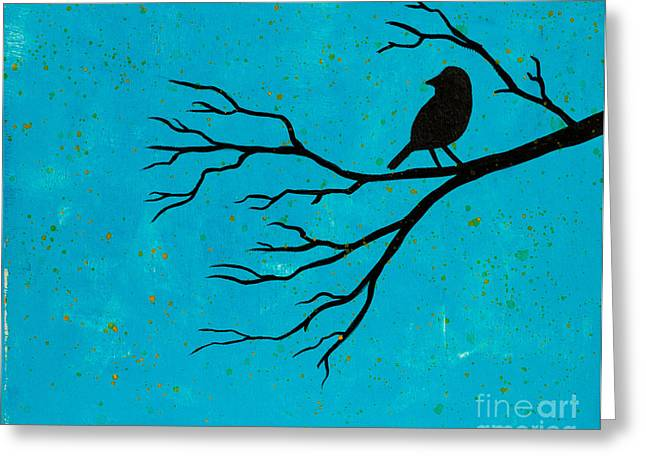 Silhouette Blue Greeting Card