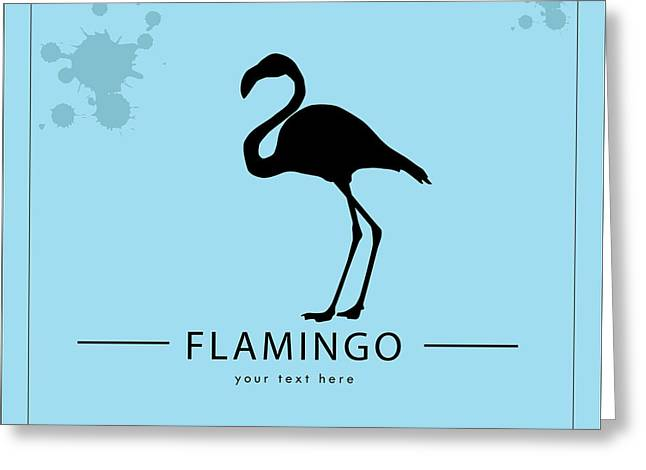 Silhouette Flamingo In The Retro Style Greeting Card by Kurt Natalia