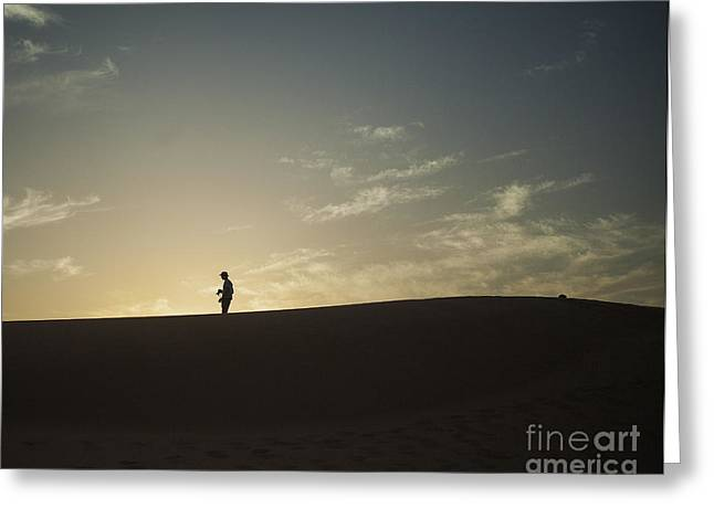 Silhouette In The Sahara Greeting Card by Patricia Hofmeester