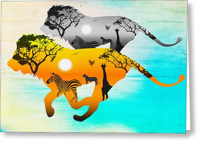 Silhouette Lions On A Hunt.  Greeting Card by Don Kuing