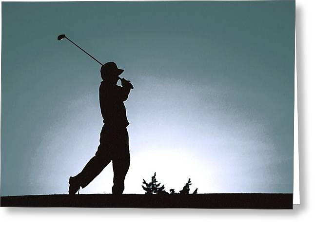 Silhouette Of A Golfer 1 Greeting Card