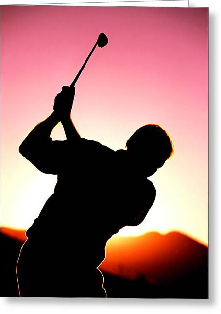 Silhouette Of A Golfer With A Driver About To Take A Shot Greeting Card