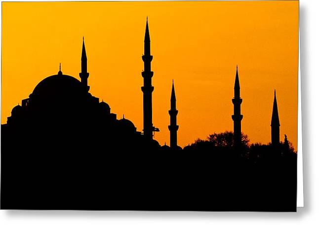 Silhouette Of A Mosque, Blue Mosque Greeting Card by Panoramic Images