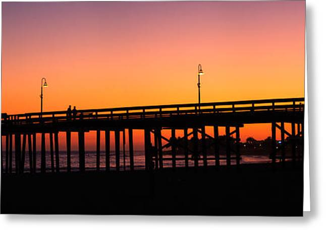 Silhouette Of A Pier At Sunset Greeting Card by Panoramic Images