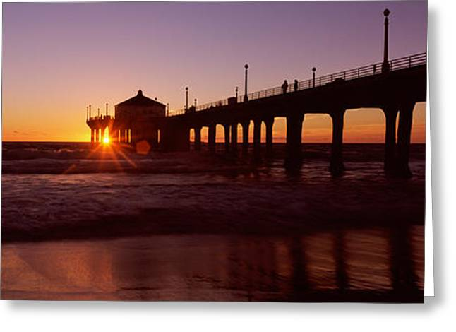 Silhouette Of A Pier, Manhattan Beach Greeting Card