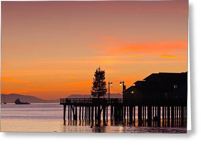 Silhouette Of A Pier, Stearns Wharf Greeting Card by Panoramic Images