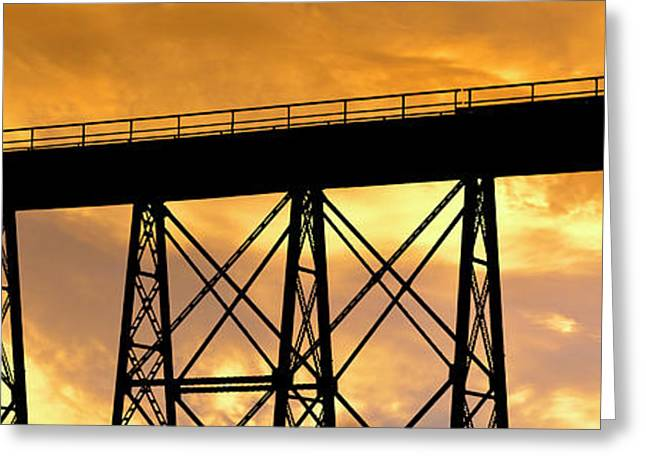 Silhouette Of A Railway Bridge Greeting Card