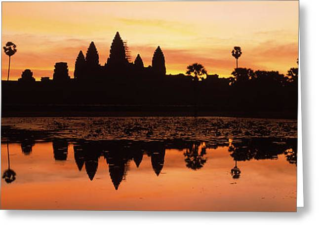 Silhouette Of A Temple, Angkor Wat Greeting Card by Panoramic Images