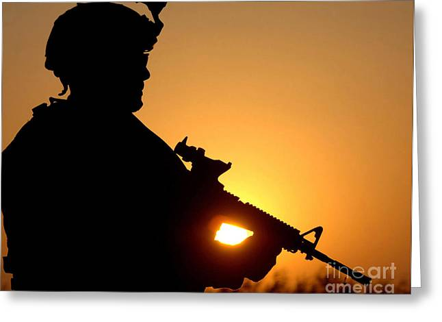 Silhouette Of A U.s. Army Soldier Greeting Card