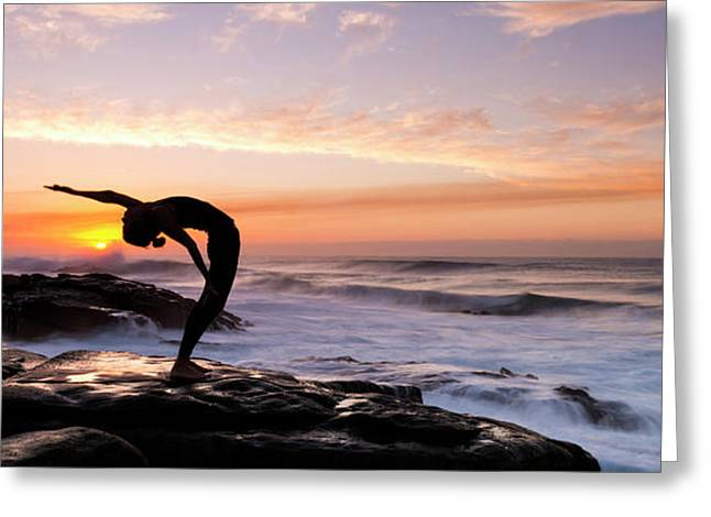 Silhouette Of A Woman Practicing Yoga Greeting Card by Panoramic Images