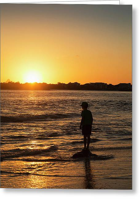 Silhouette Of A Young Boy Standing Greeting Card