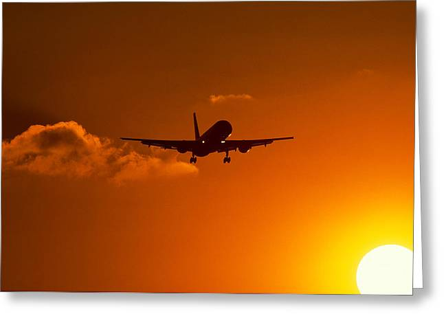 Silhouette Of Airliner In Golden Sunset Greeting Card by Panoramic Images
