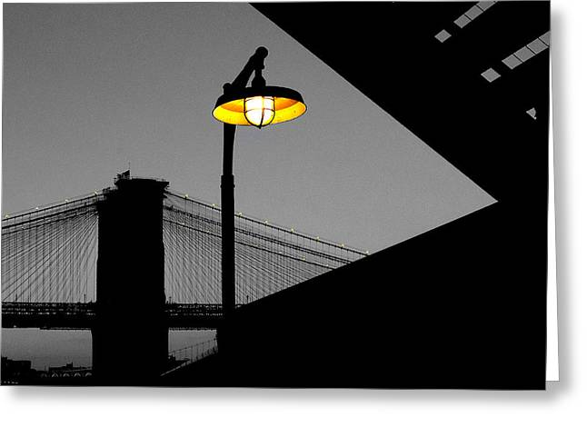 Silhouette Of Brooklyn Bridge New York City Greeting Card by Sabine Jacobs
