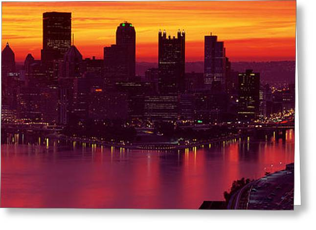 Silhouette Of Buildings At Dawn, Three Greeting Card by Panoramic Images
