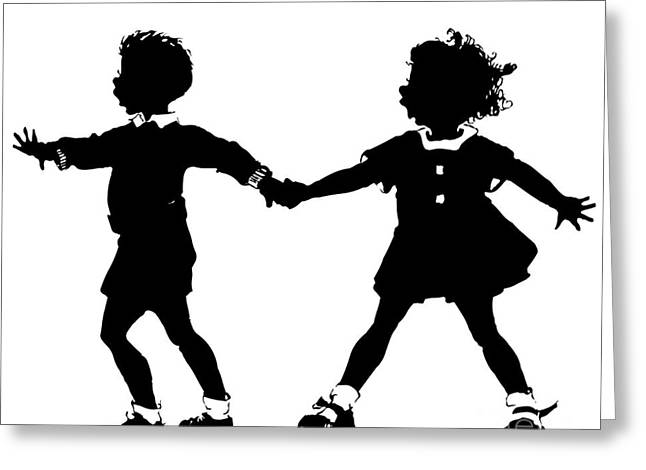 Silhouette Of Children Rollerskating Greeting Card by Rose Santuci-Sofranko