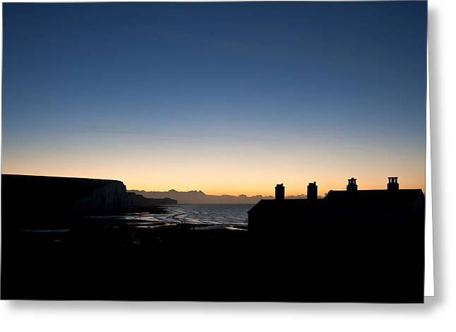 Silhouette Of Coastguard Cottages At Seaford Head At Sunrise Greeting Card by Matthew Gibson