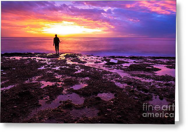 Silhouette Of Fisherman In Sunset Greeting Card by Anna Om