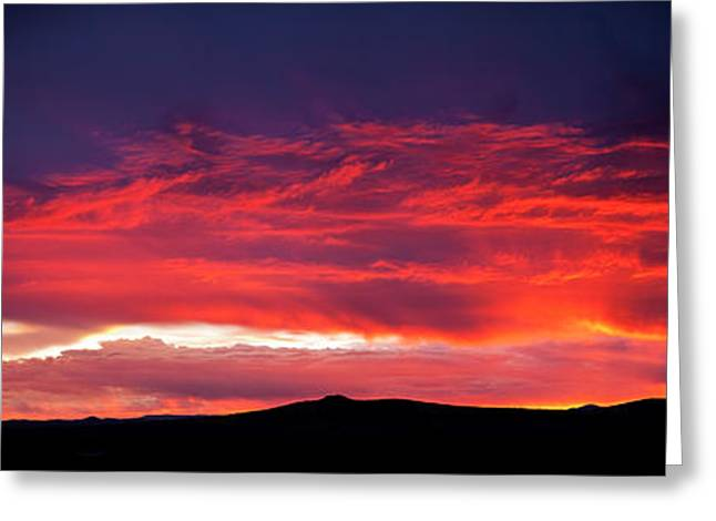 Silhouette Of Mountain Range At Sunset Greeting Card by Panoramic Images