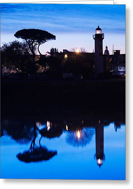Silhouette Of Old Port Lighthouse Greeting Card