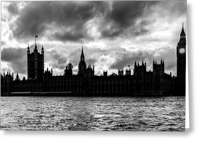 Silhouette Of  Palace Of Westminster And The Big Ben Greeting Card