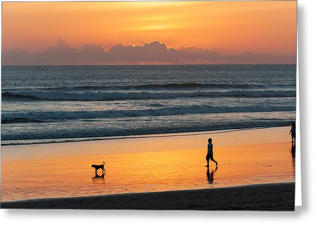 Silhouette Of People And Dog Walking Greeting Card