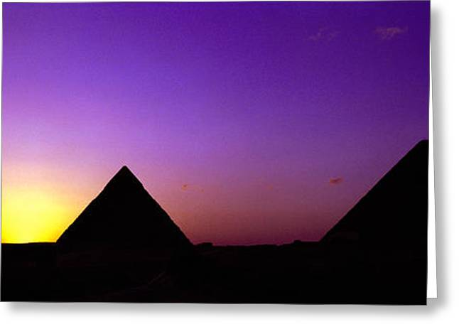 Silhouette Of Pyramids At Dusk, Giza Greeting Card