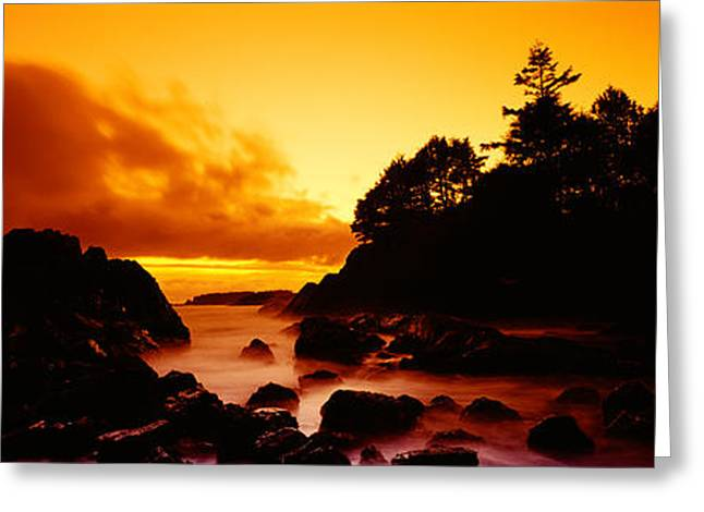 Silhouette Of Rocks And Trees Greeting Card