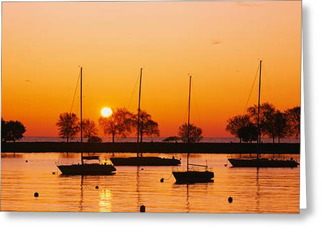 Silhouette Of Sailboats In A Lake, Lake Greeting Card by Panoramic Images