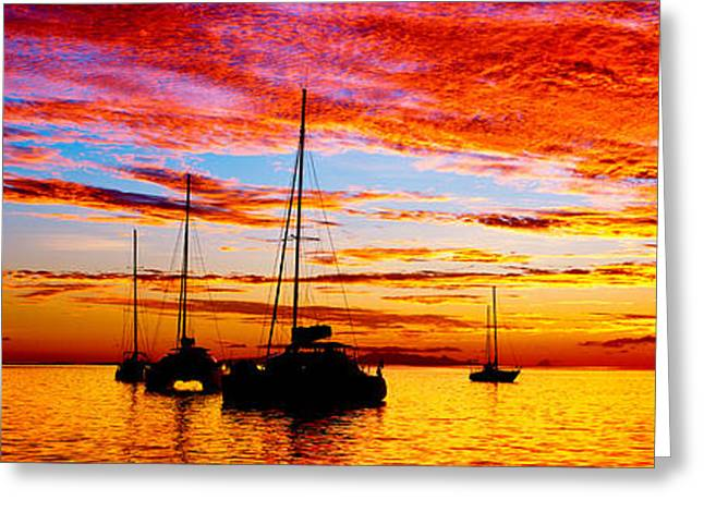 Silhouette Of Sailboats In The Ocean Greeting Card by Panoramic Images