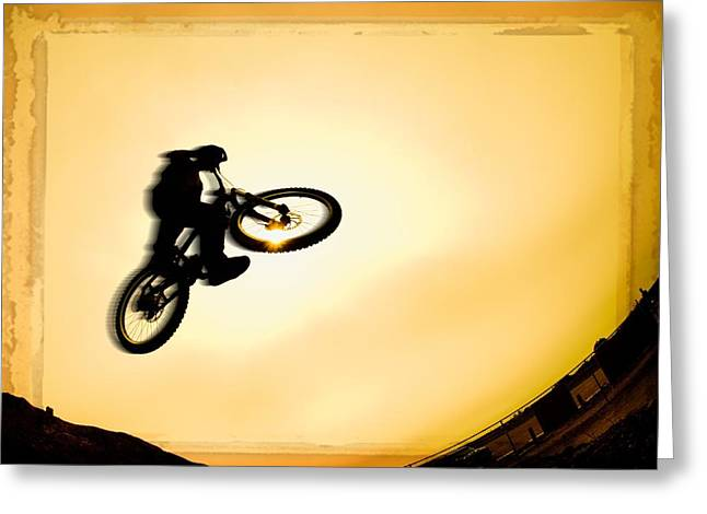 Silhouette Of Stunt Cyclist Greeting Card