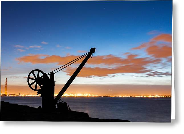 Silhouette Of The Davit In Dublin Port Greeting Card by Semmick Photo