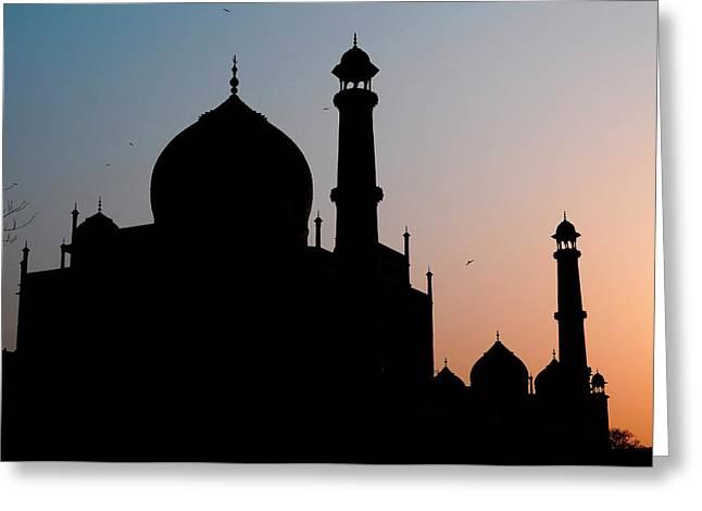 Silhouette Of The Taj Mahal At Sunset Greeting Card