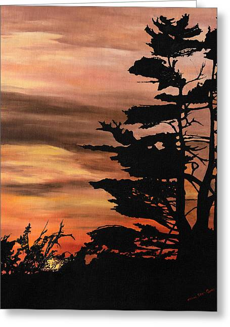Greeting Card featuring the painting Silhouette Sunset by Mary Ellen Anderson