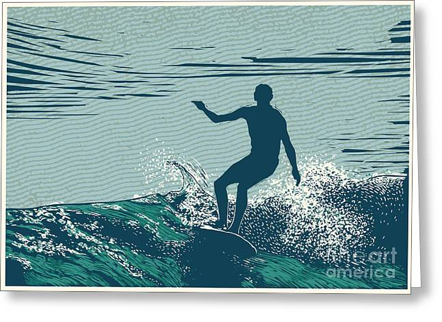 Silhouette Surfer And Big Wave Greeting Card