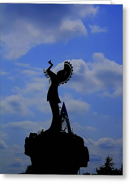 Silhouetted Keeper Of The Plains Greeting Card