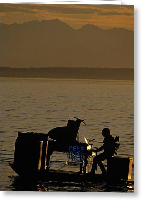 Silhouetted Sea Monster Playing Piano.tif Greeting Card by Jim Corwin