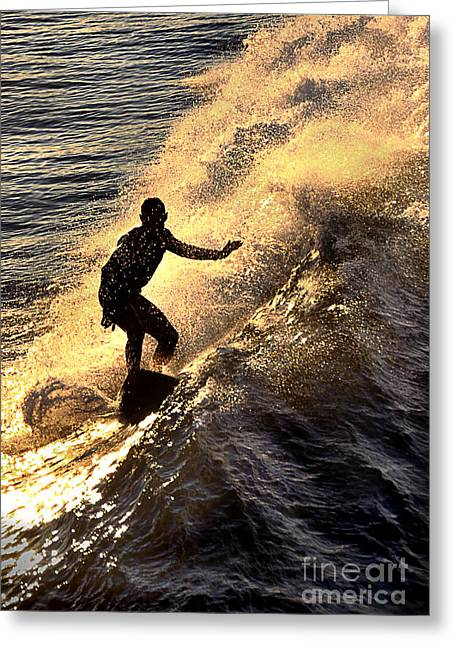 Silhouetted Surfer Greeting Card