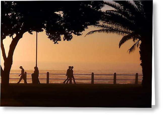 Silhouettes Along The Promenade 1 Greeting Card by Michael Durst