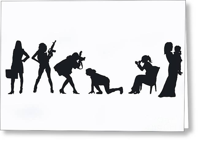 Silhouettes Of A Woman Greeting Card by Laura Charlesworth