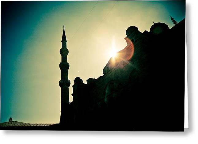Silhouettes Of Blue Mosque Istambul Turkey Greeting Card by Raimond Klavins