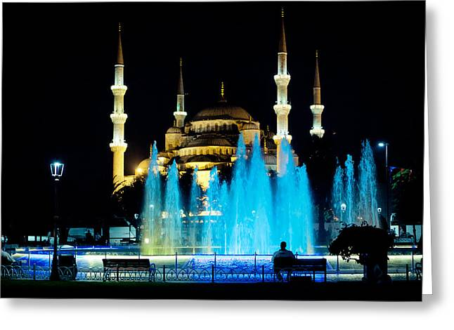 Silhouettes Of Blue Mosque Night View Greeting Card by Raimond Klavins