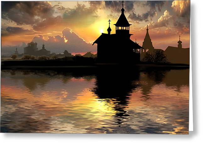 Silhouettes Of The Christianity Greeting Card by Igor Zenin