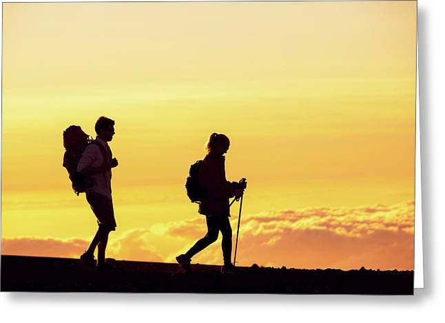 Silhouettes Of Two Hikers Greeting Card